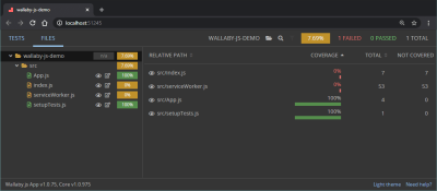 A screenshot of a browser tab showing the demo preview of the Wallaby.js app and where the Files tab can be found