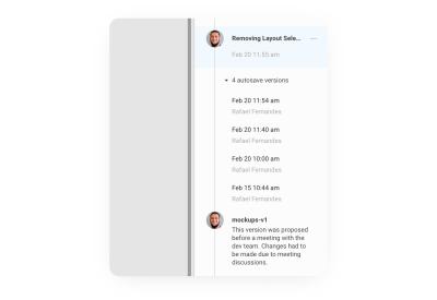 A screenshot showing what Figma's version history timeline looks like