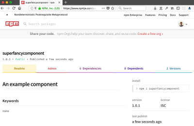 An example of a component in the NPM registry, ready to be installed and used in your own projects.