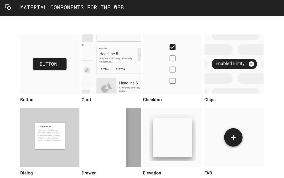 Скриншот с сайта Google's material components – демонстрирует набор различных компонентов.