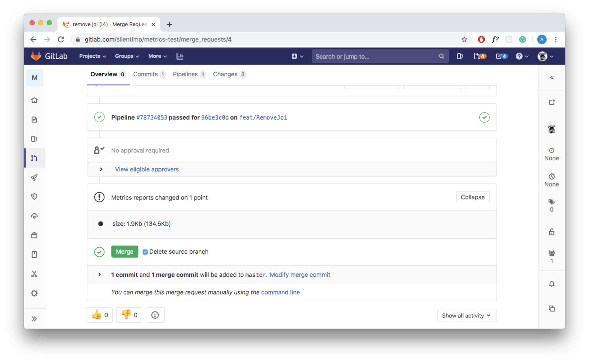 Screenshot with a merge request, which shows us a widget with new and old metric value in the round brackets