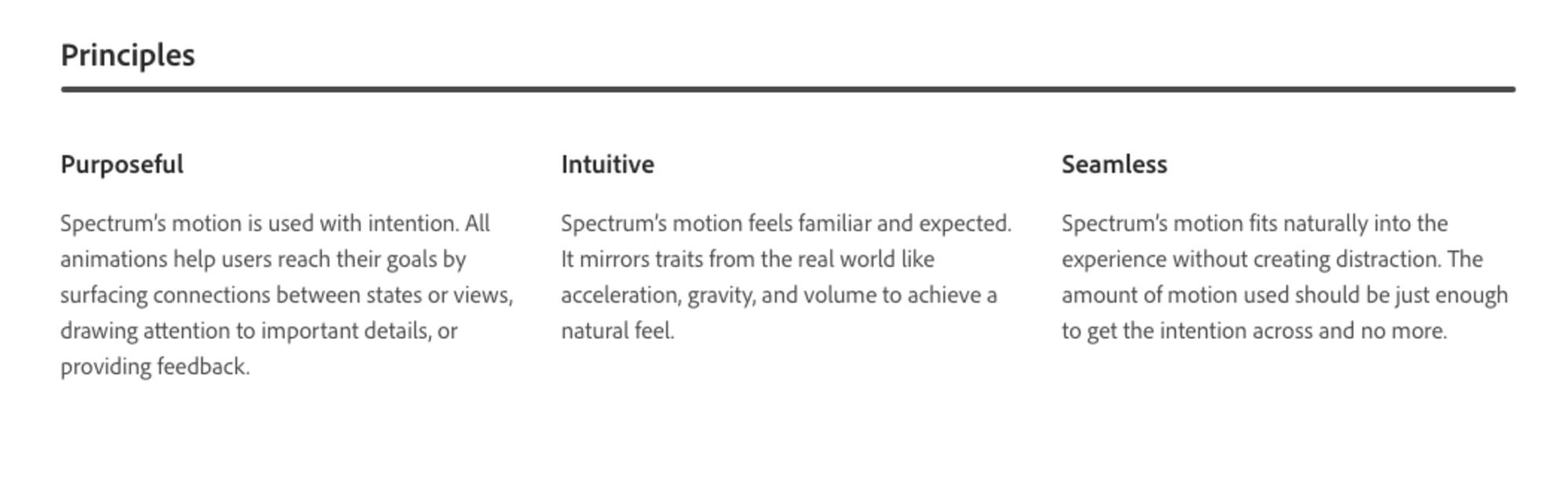 意図的、直感的、融和性に言及するSpectrumのモーションの原則。