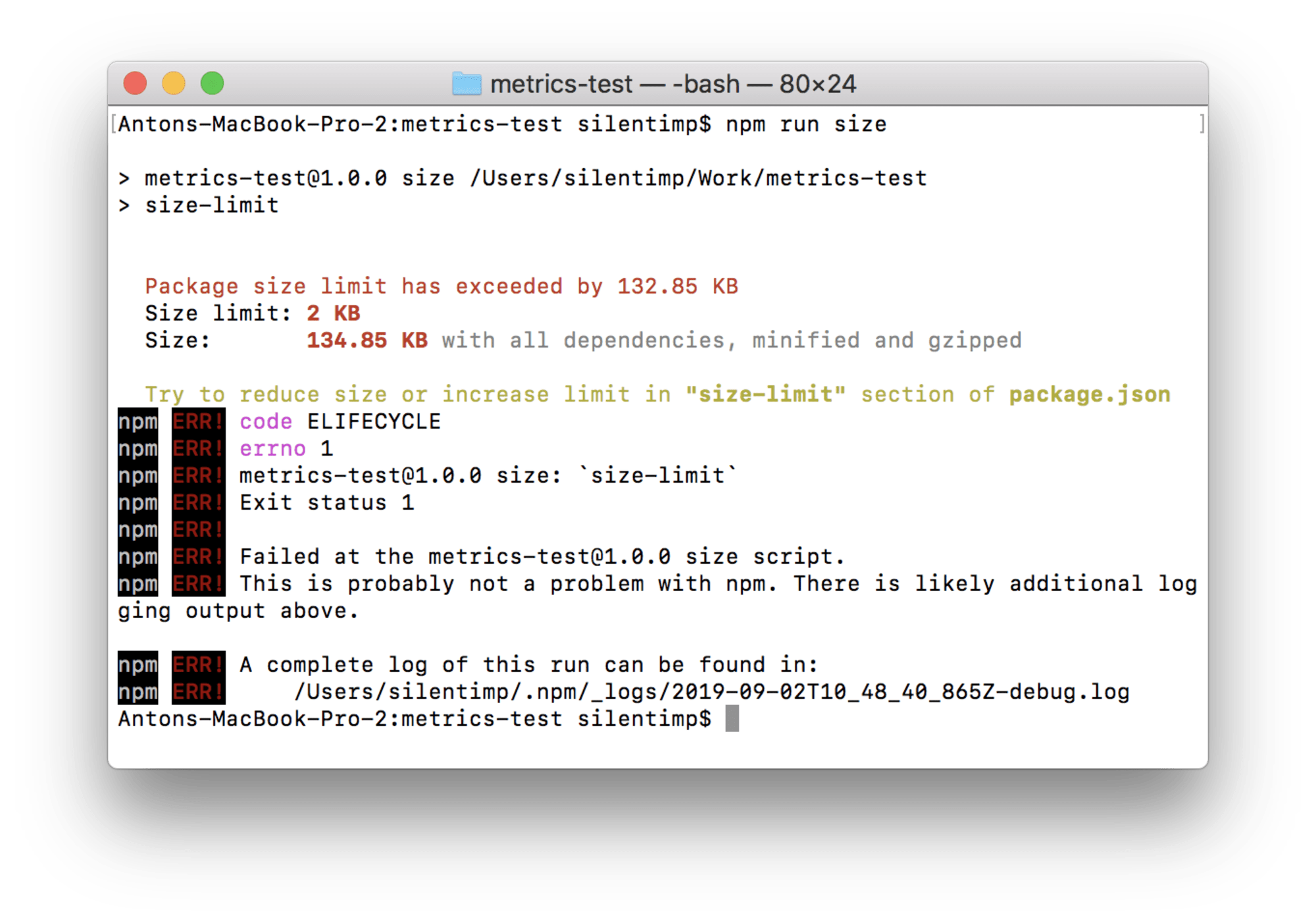 A screenshot of the terminal where the size of the file exceeds the limit and is being shown in red. The script was finished with a non-zero code.