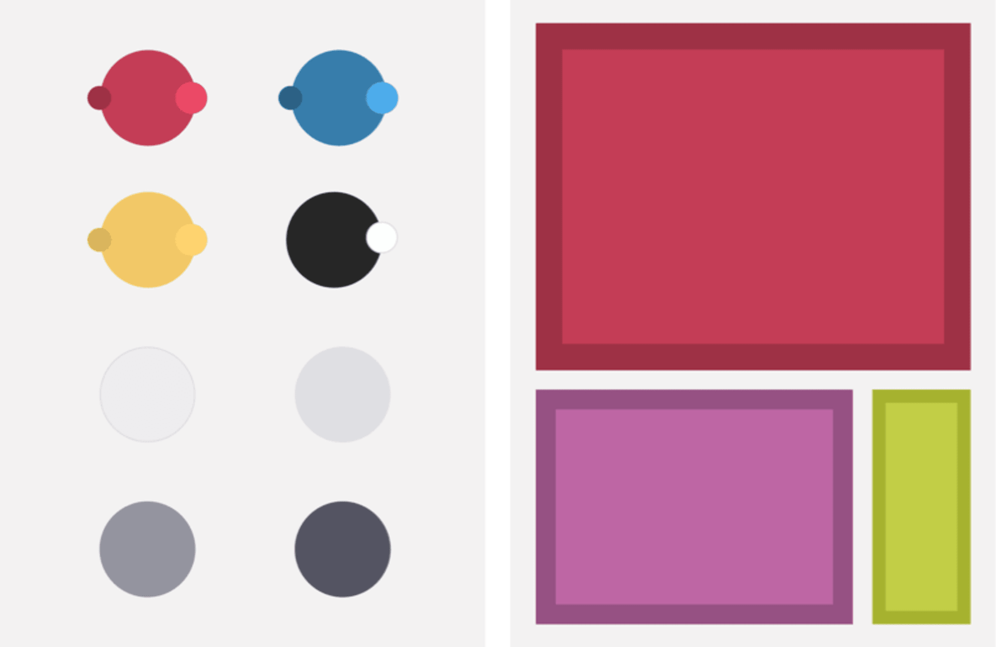 Left: My color palette. Right: Demonstrating percentage use.