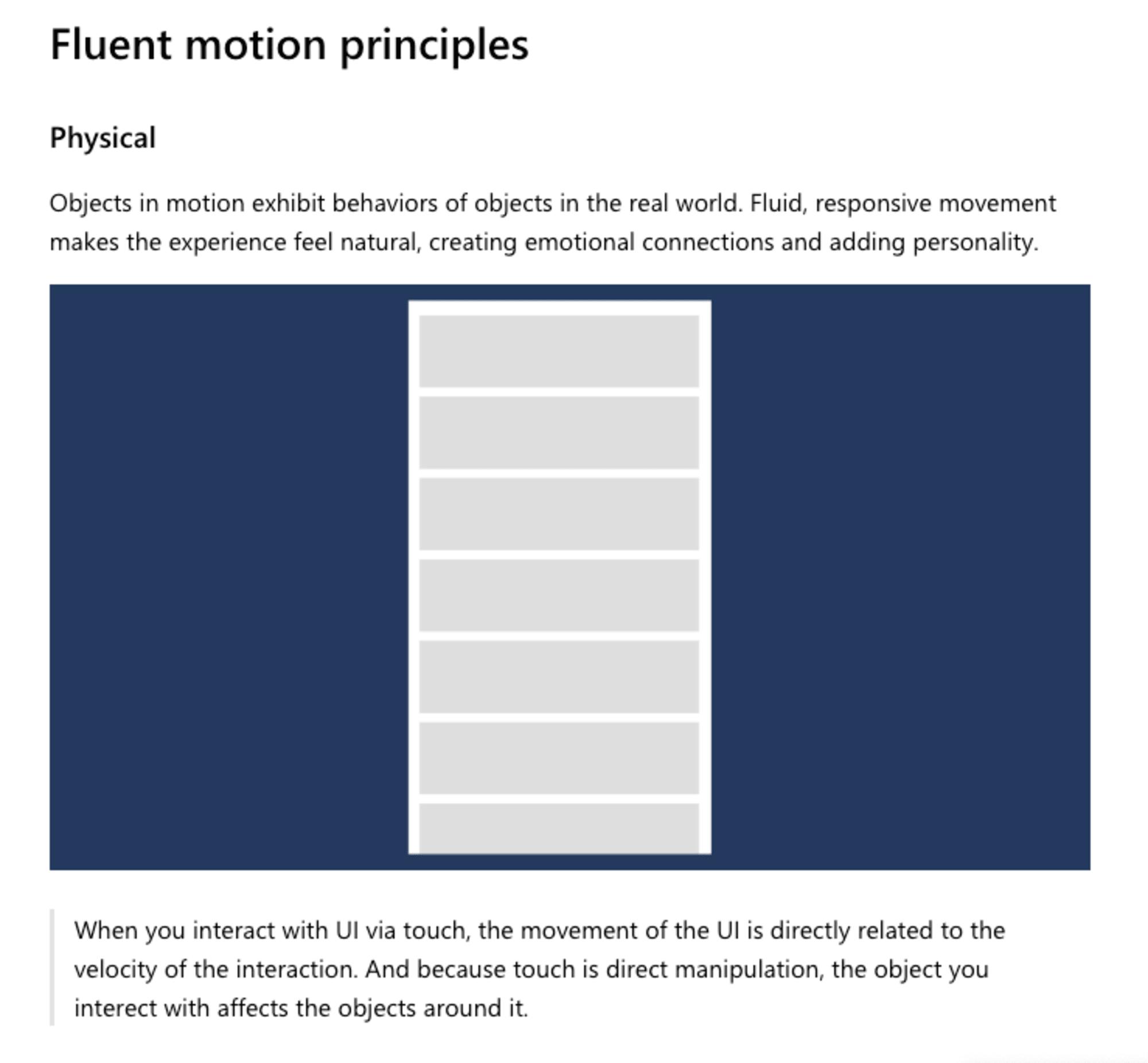 Fluentにおけるモーションの原則の冒頭箇所のスクリーンショット