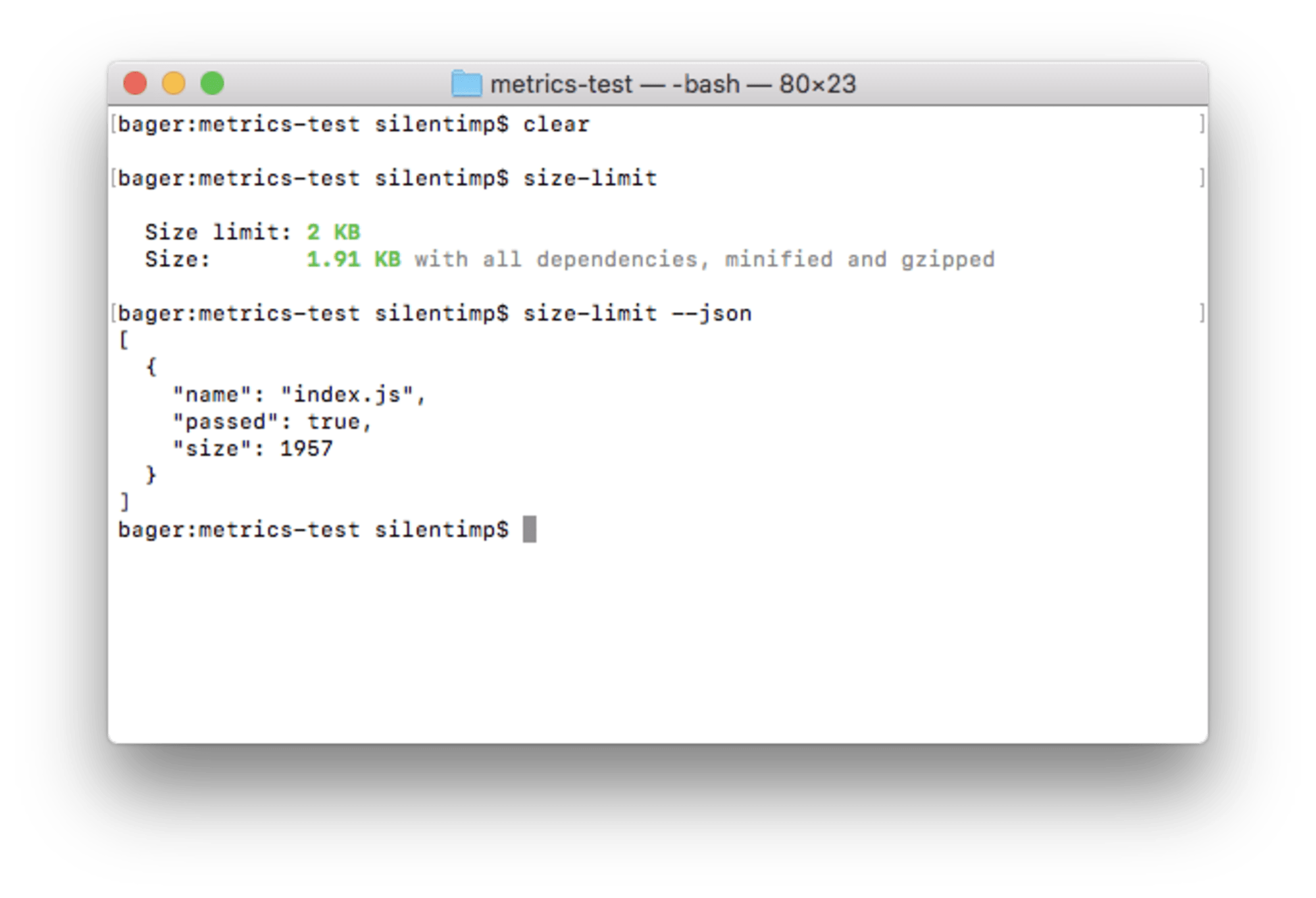 The command size-limit --json output JSON to console. JSON contains an array of objects which contain a file name and size, as well as lets us know if it exceeds the size limit