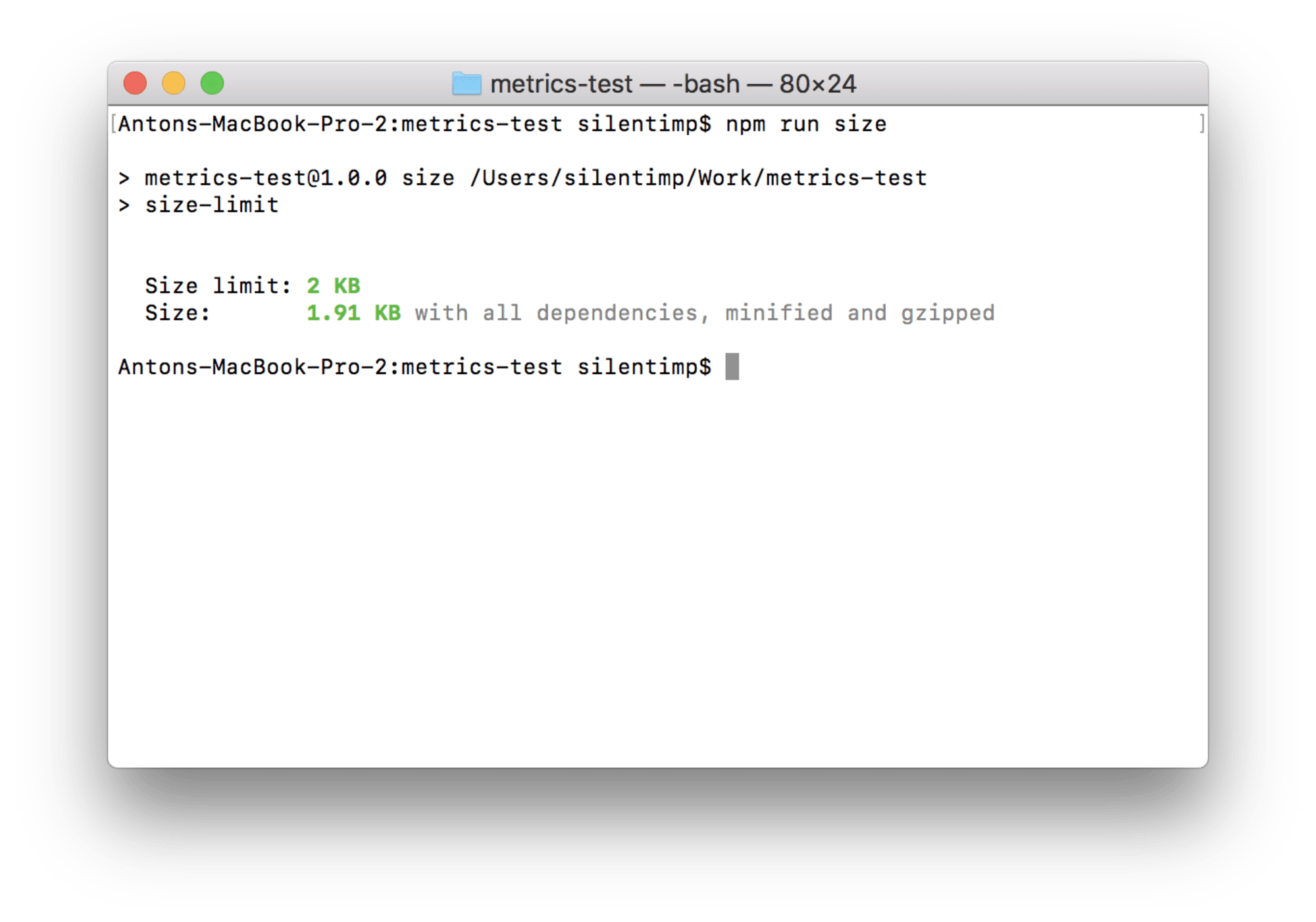 A screenshot of the terminal; the size of the file is less than the limit and is shown as green