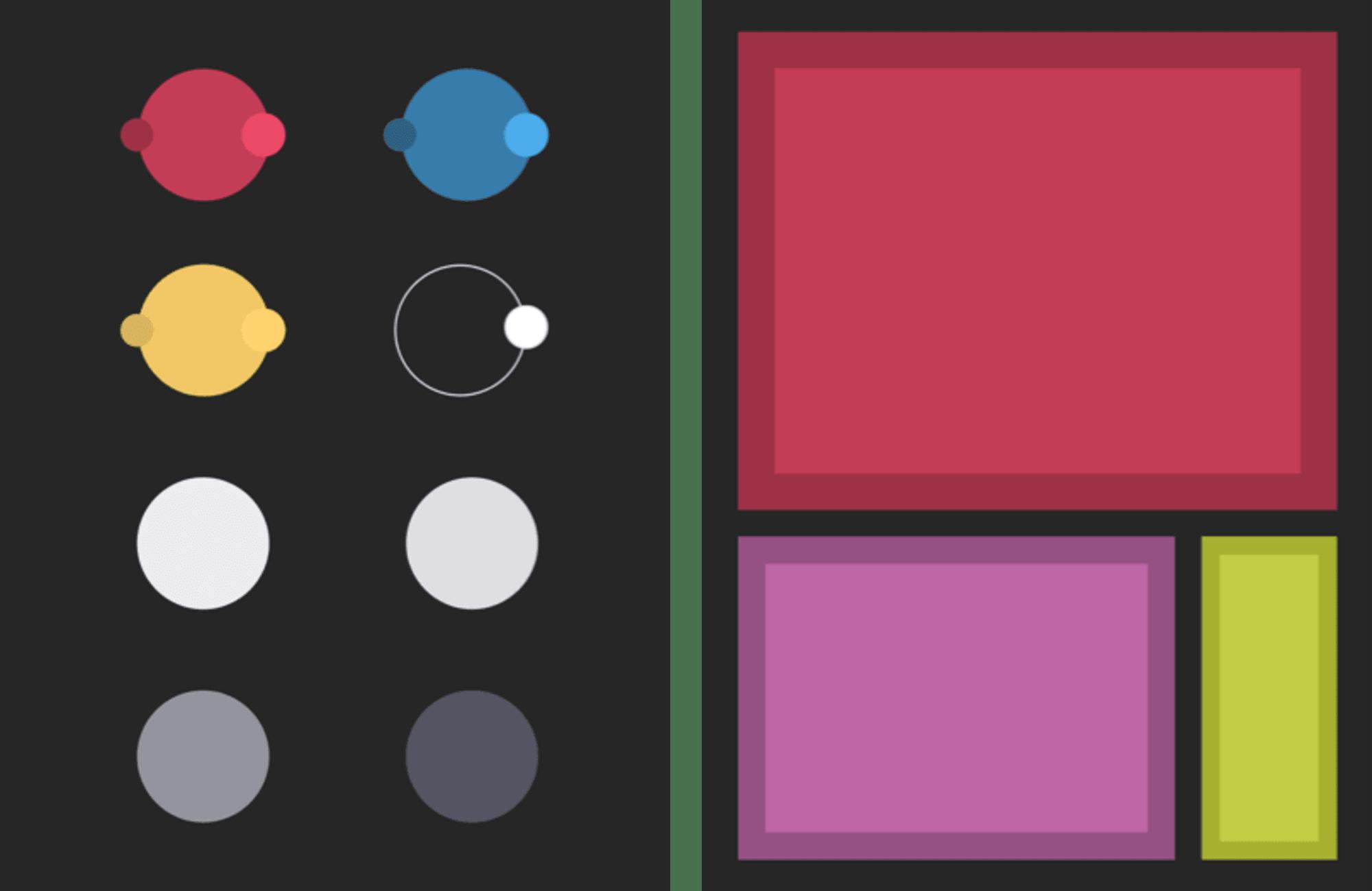 color palette against a dark background