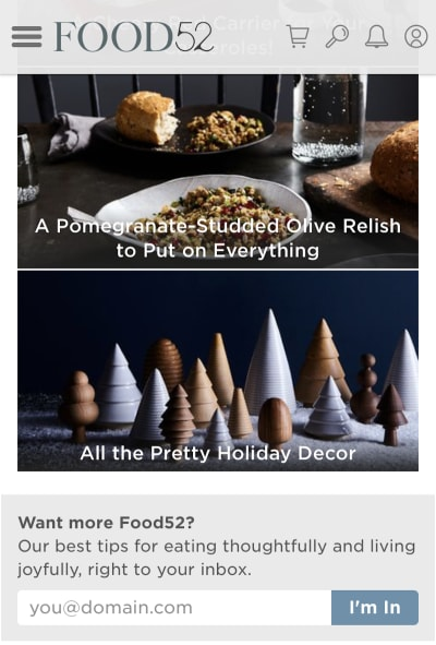 Food52's festive home page design