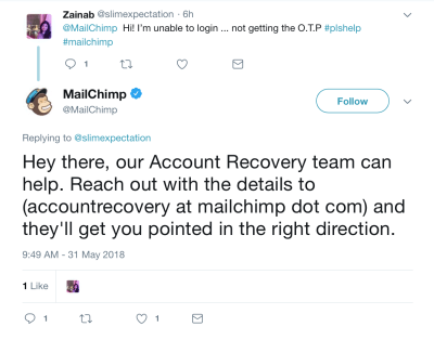 MailChimp deals with user problems on Twitter.