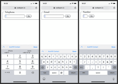 A combined screenshot showing the three custom keyboards offered by Safari on iOS for telephone, email and number field types.