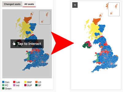 Screenshot of map embed with Tap to Interact overlay, followed by a screenshot of the map in full screen mode after it has been tapped.