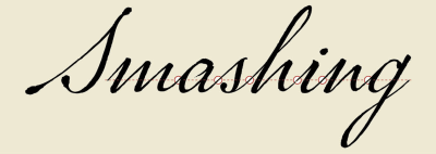 "The word ""Smashing"" typeset in P22 Marcel Script with small circles highlighting small overlapping areas between letters."