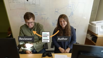 Ingvild and Dag-Inge are sitting next to each other. An arrow indicates that Ingvild is sending back her code to Dag-Inge, having looked through the code he commented on.