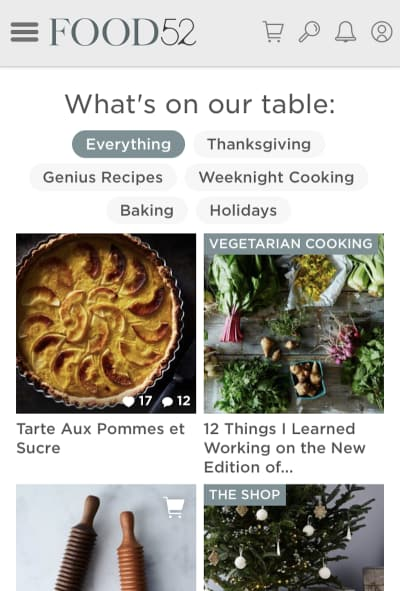 Thanksgiving categories on Food52
