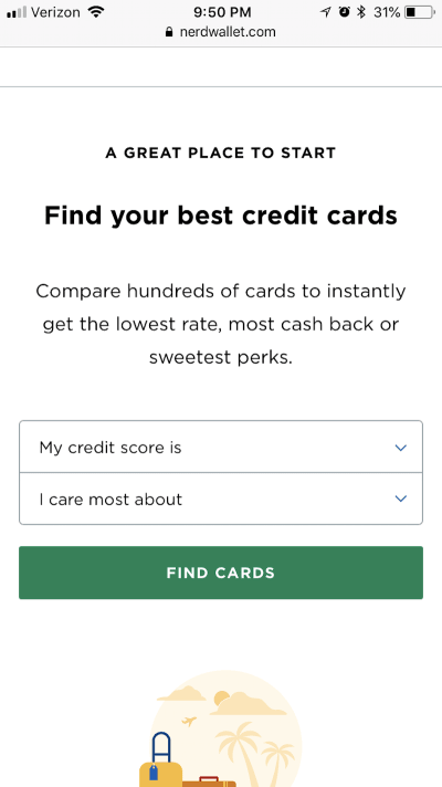 The NerdWallet home page