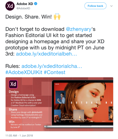 In Adobe XD's promotional campaign on Twitter, designers share their work with Adobe XD using the hash tag #AdobeXDUIKit.