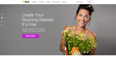 A screenshot of the WIX website with a smiling person presented on the front page