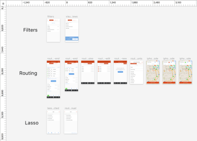 Screenshot of organizing a design file in the program Sketch.