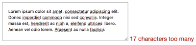 """An example showing """"17 characters too many"""" in red text next to a <code><textarea></code>."""