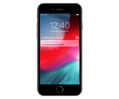 iPhone 8 Plus lock screen shown with a grouped notification stack from Notification Tester app that has hidden content.