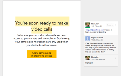 A screenshot of a Google Doc mocking up a sign-up form with comments from team members Ingvild and Ida.