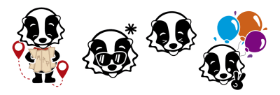 Four cartoon-style designs based off the baby badger animation.