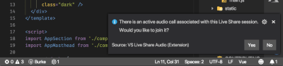 vs code notification asking if you would like to join the audio call