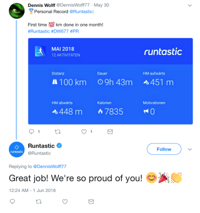 Encourage your followers to share special moments. Runtastic encourages its users to share their accomplishments on social media.