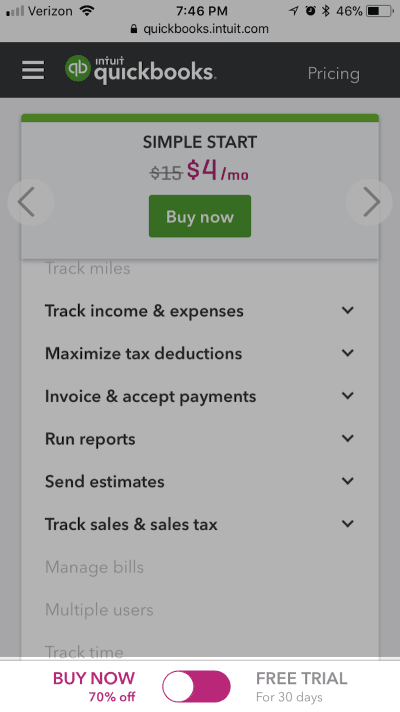 Example of delayed mobile pop-up