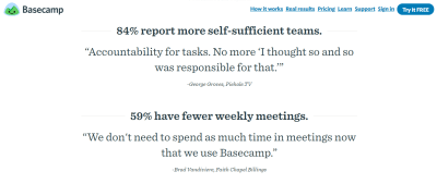 Basecamp pairs testimonials with research findings to create an ultimate persuasive effect.