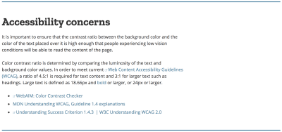 A screenshot of the Accessibility Concerns section