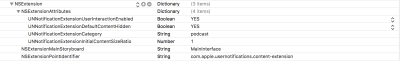 Info.plist file for Notification Content Extension shown in Xcode.