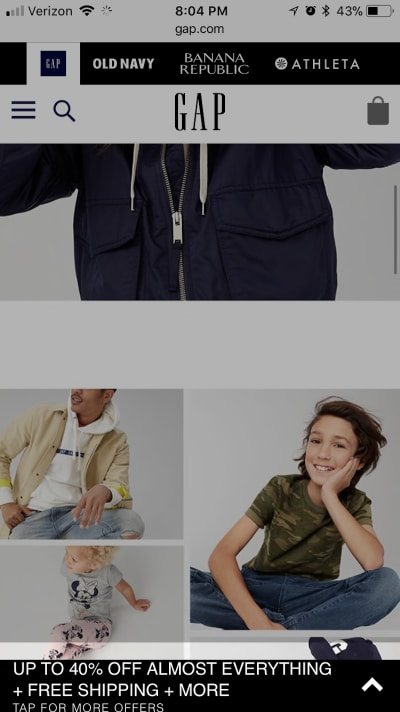 Gap mobile pop-up ad