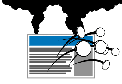 Illustration of web site that is imploding