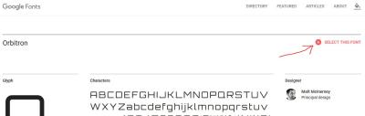 Screenshot of Google Font page of Orbitron font