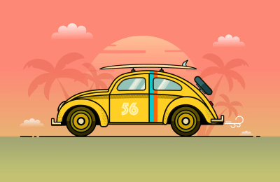 The completed Volkswagen Beetle illustration.