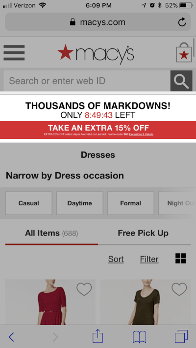 Macy's inserts desktop pop-up into mobile on-page content