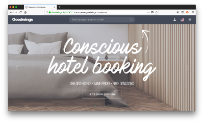 Goodwings is a conscous hotel booking site that gives half of their commission to charity.
