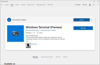 The Windows Terminal item in the Windows Store