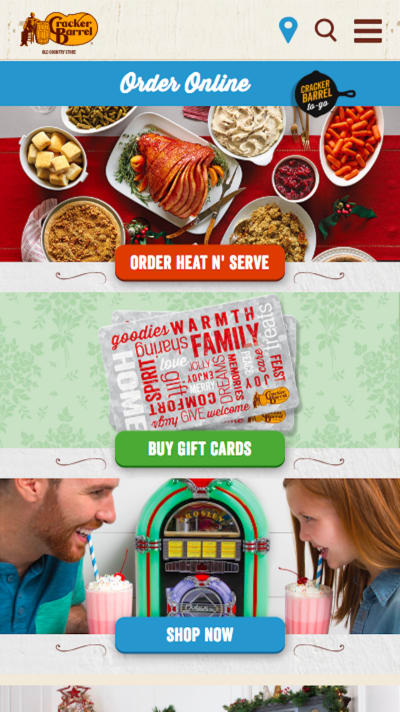 Cracker Barrel home page design