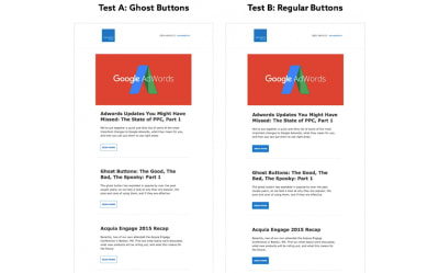 Elevated Third tested a set of ghost buttons against solid buttons in its email newsletter.