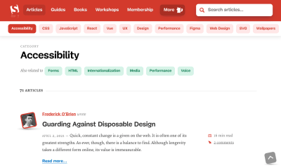 A screengrab of the Smashing Accessibilit category page made on April 15, 2021
