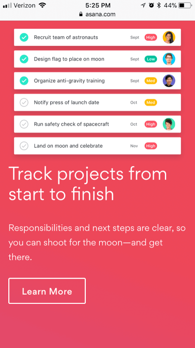 Subtle ghost button design on Asana's website.