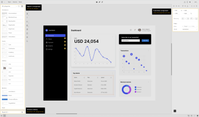 The UI of UXPin with Merge technology