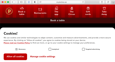 Screengrab of Pinchos cookie consent