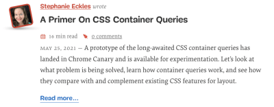 The midsize container query layout with the avatar visually appearing to be in it's own column to the left of the rest of the content.