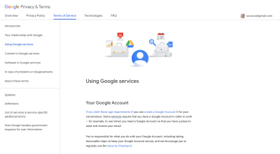 Google Terms of Service page with sticky sidebar navigation