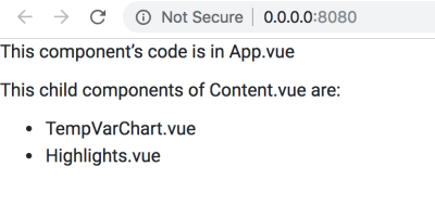 "A screenshot of the browser with the message ""This component's code is in App.vue. This child components of Content.vue are: TempVarChart.vue, Highlights.vue"""