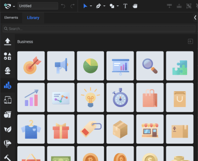 Did you know? Apart from basic shapes and drawing functionalities, SVGator also offers a library of premade assets to fasten your workflow. You can choose from a vast variety of shapes, icons and illustrations